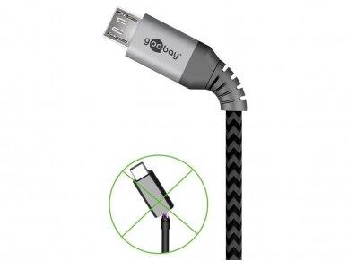 USB kabelis A - micro B 0.5m, tekstilė 4