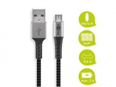 USB kabelis A - micro B 0.5m, tekstilė