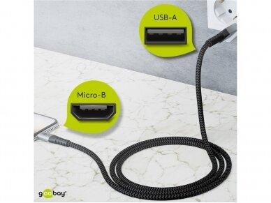 USB kabelis A - micro B 2m, tekstilė 4