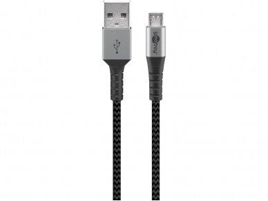 USB kabelis A - micro B 2m, tekstilė 2