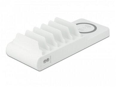 USB krovimo stotelė, 2xUSB-C PD,  3xUSB A, bevielis krov. 2