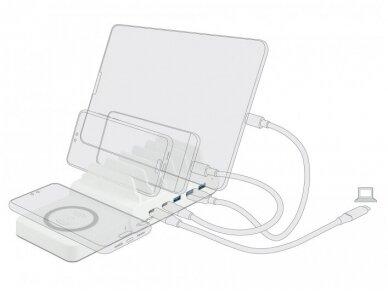 USB krovimo stotelė, 2xUSB-C PD,  3xUSB A, bevielis krov. 4