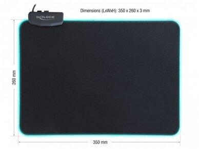 USB pelės kilimėlis su RGB, 350x260x3mm 2
