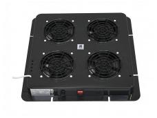 Ventiliatorių blokas, 4 ventiliatoriai, juodas