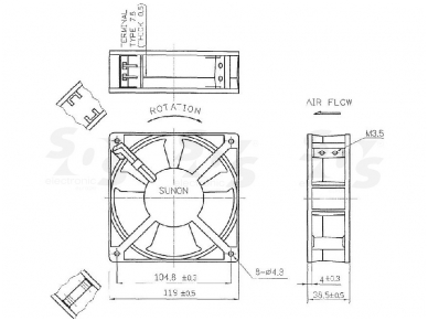 Ventiliatorius 120x120x38mm 230V DP201A-2123HBT 2
