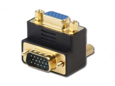VGA kampinis perėjimas HDD15F -HDD15M, kabelis į apačią