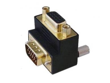 VGA kampinis perėjimas HDD15F -HDD15M, kabelis į viršų